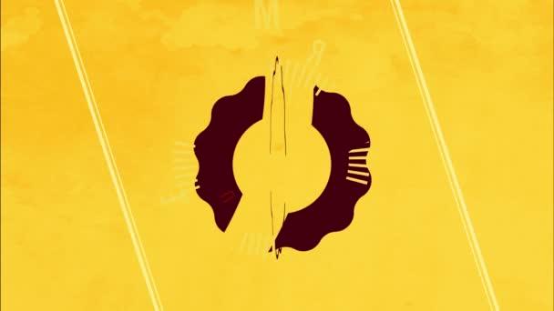Lineární odrazit a točit animace Retro Cafe reklama pro prémiovou kvalitu kávový výrobek s živým žlutým rámečkem a vlnité hrany ikony