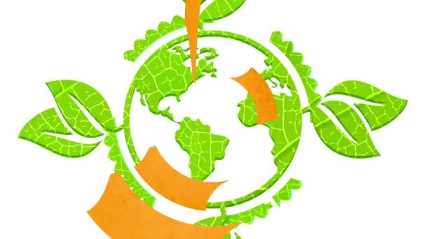 Linear Bounce And Spin Animation Of Big Happy Earth Day Icon Using Recyclable Organic Materials For Environmental Organization United For Conservation Of Ecology And Save The World