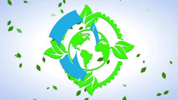 Inerciální odraz a spin animace radostného festivalu Den Země Symbol pro zachování přírodních zdrojů a tvorbu obnovitelné energie pro udržitelný svět