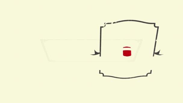 Sima sebesség Ramping Animáció ízletes fekete jeges kávé Frappe hirdetés a nyári táplálkozás a piros retro pecsét