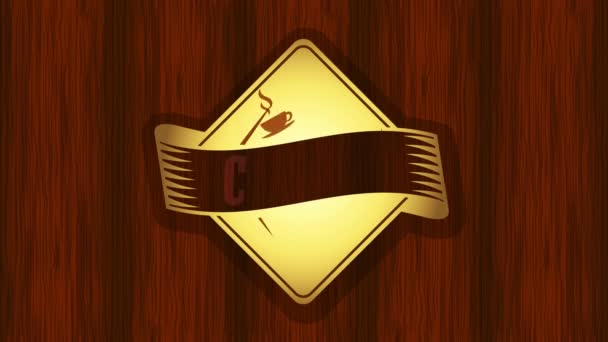 Motion of Elements Forming Diamond Figure Emblem For Coffee House Sign With Elegant Elements and Dark Lacquered Wood Background