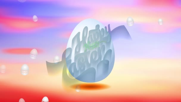 Lineare Skalierung Animation des Frühlings Abendfarben Szene hält fröhliche Ostereier mit 3D-Form bedeckt mit kursiven roten und grünen Buchstaben