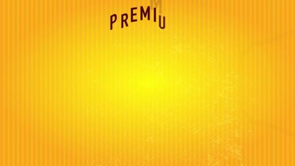 Tavaszi és Scaling Motion Of 50S Stílus Prémium minőségű kávé felirat bemutatása Elegáns központi ábra felett fényes csíkos háttér