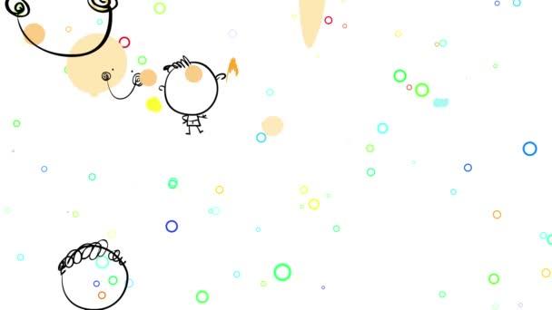Ugráló lapos elemek alkotó csoport mosolygós nő és férfi gyerekek állnak örömteli kifejezéssel a háttér felett sokszínű buborékok lebegő mindenhol arra utal, hogy ünneplik a boldog születésnapot