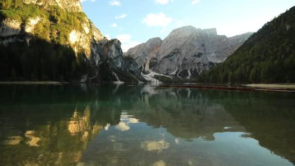 Lake Braies Pragser Wildsee in Dolomites at Sunset, Sudtirol, Italy
