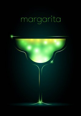 margarita text and outline of a glass with shining green liquid isolated on dark background