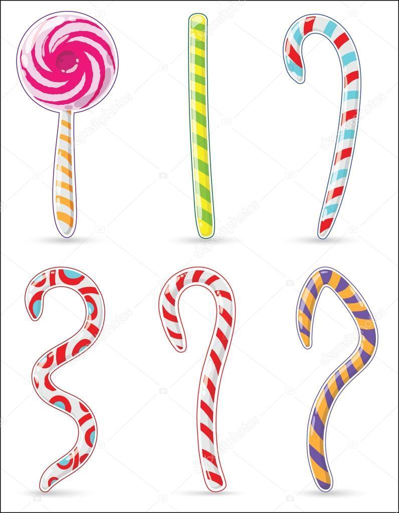 Navidad a rayas de caramelo en forma de barras y garabatos. Estilo ...