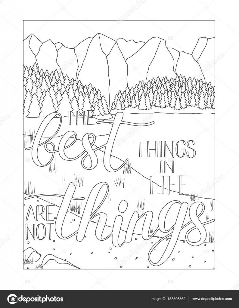 Página de libro para colorear con un paisaje de montaña y lago ...