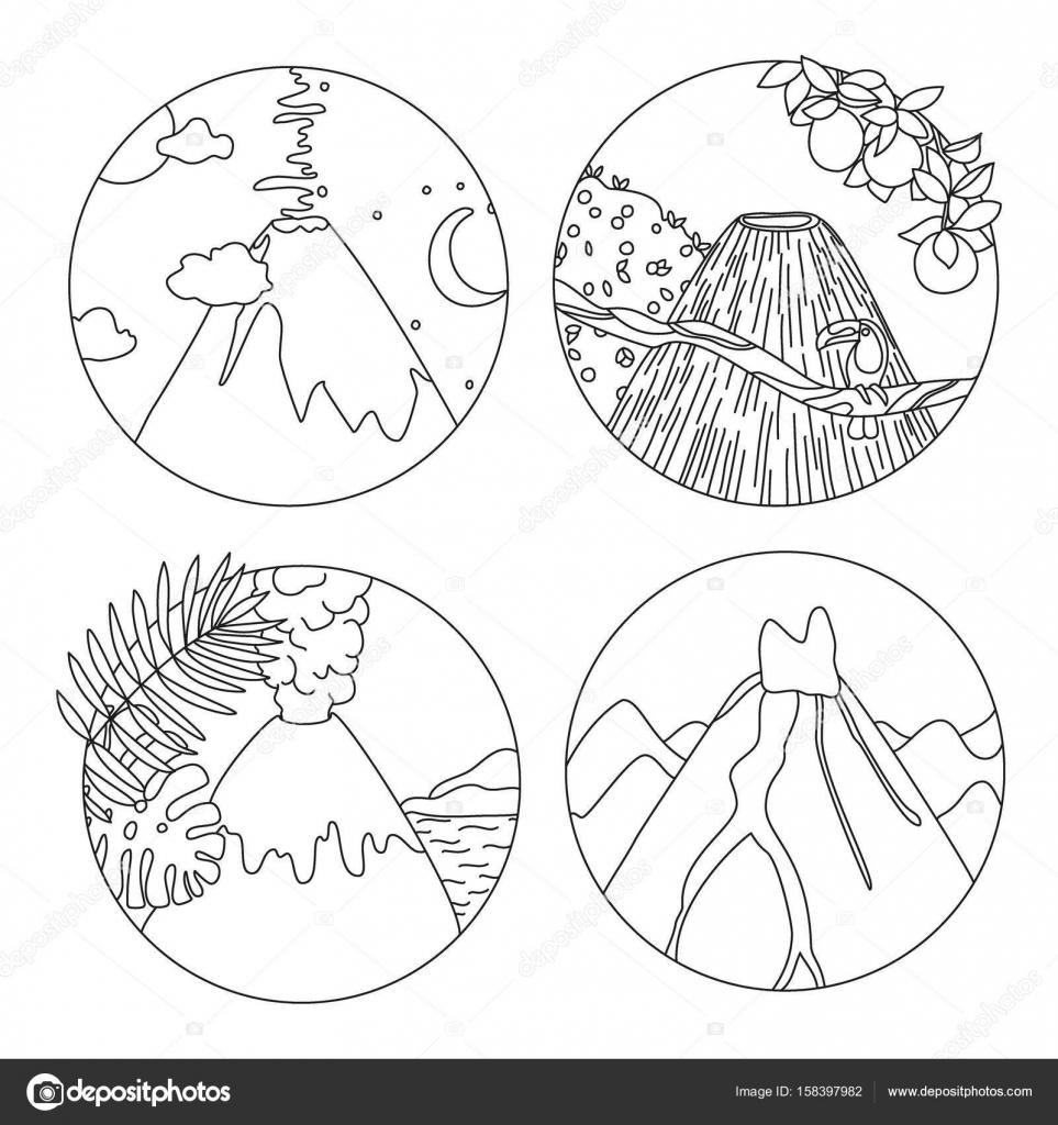 Coloriage Adulte Volcan.Coloriage Livre Avec Volcans Image Vectorielle Runlenarun C 158397982