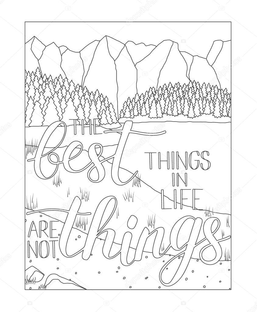 boek kleurplaat met landschap bergen en meer
