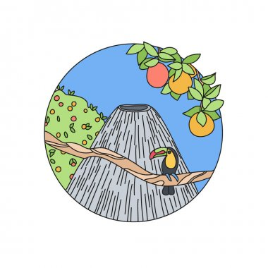 Volcano doodle vector logo