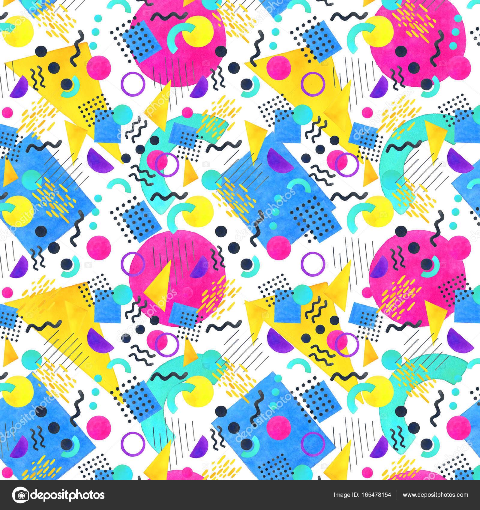 Memphis seamless pattern of geometric shapes 80's-90's