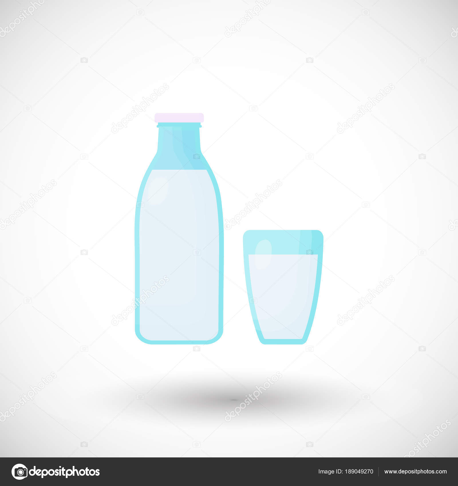 lait plat vector icon, bouteille et verre design — image vectorielle