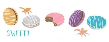 Set of colorful macaroons, macaron almond cakes, hand drawn vector illustration isolated on white background. Biscuits with vanilla, lavender, raspberry flavor,sweet,beautiful dessert. For cafe menu