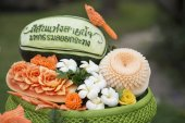 Photo thai food carving at the Loy Krathong festival at the Santichaiparakan park in Banglamphu in the city of Bangkok in Thailand. Thailand, Bangkok, November, 2017.