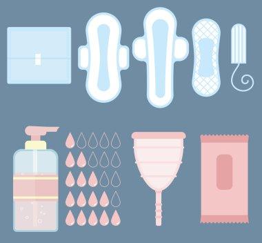 Feminine personal hygiene vector items set