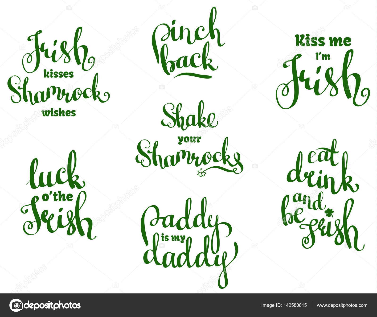 Vector Con La Mano Escrita Frases Para St Patricks Day