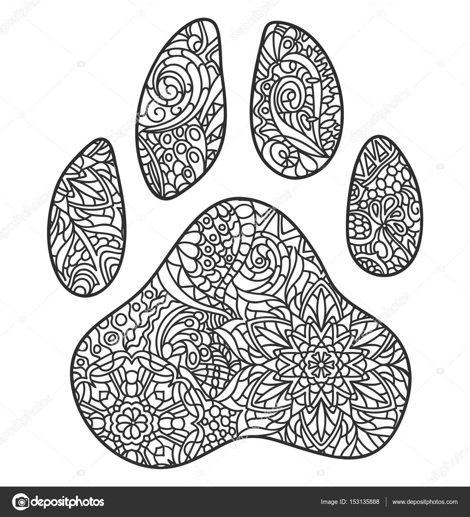 Zentagle impresión de la pata de perro — Vector de stock ...
