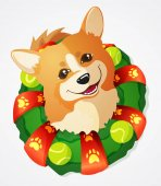 Photo Cute Welsh Corgi dog and Christmas Wreath, cartoon vector illustration