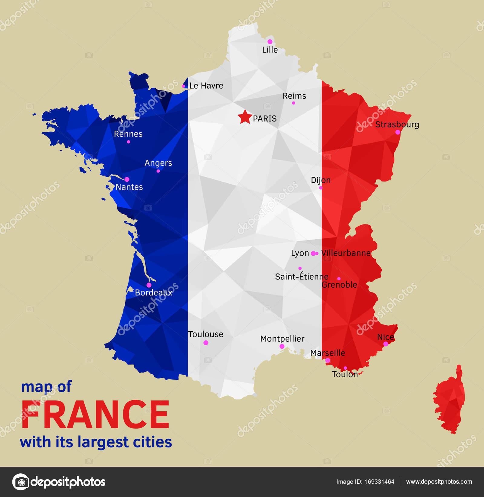 Frankreich Karte Stadte.Vektor Karte Von Frankreich Und Seine Grossten Stadte
