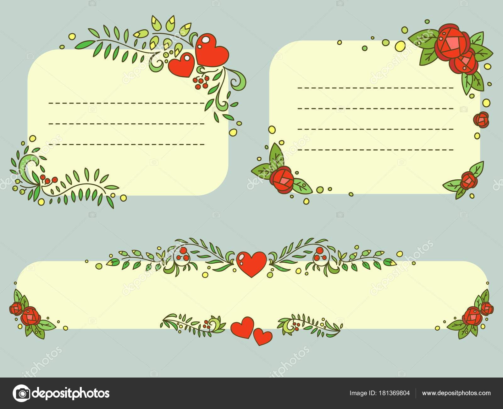Hand drawn floral Valentines day romantic frames vector set — Stock ...