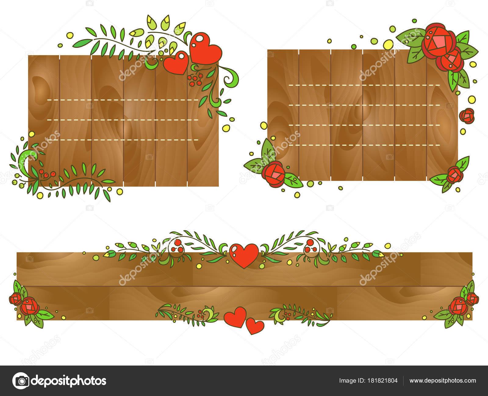 Marcos romántico florales dibujado a mano conjunto de vectores ...