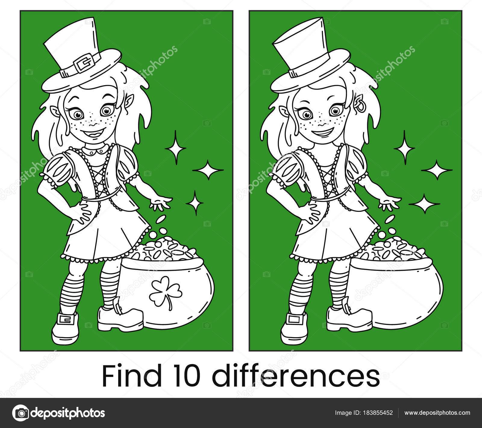 Chica de duende irlandés de dibujos animados lindo con la olla llena ...