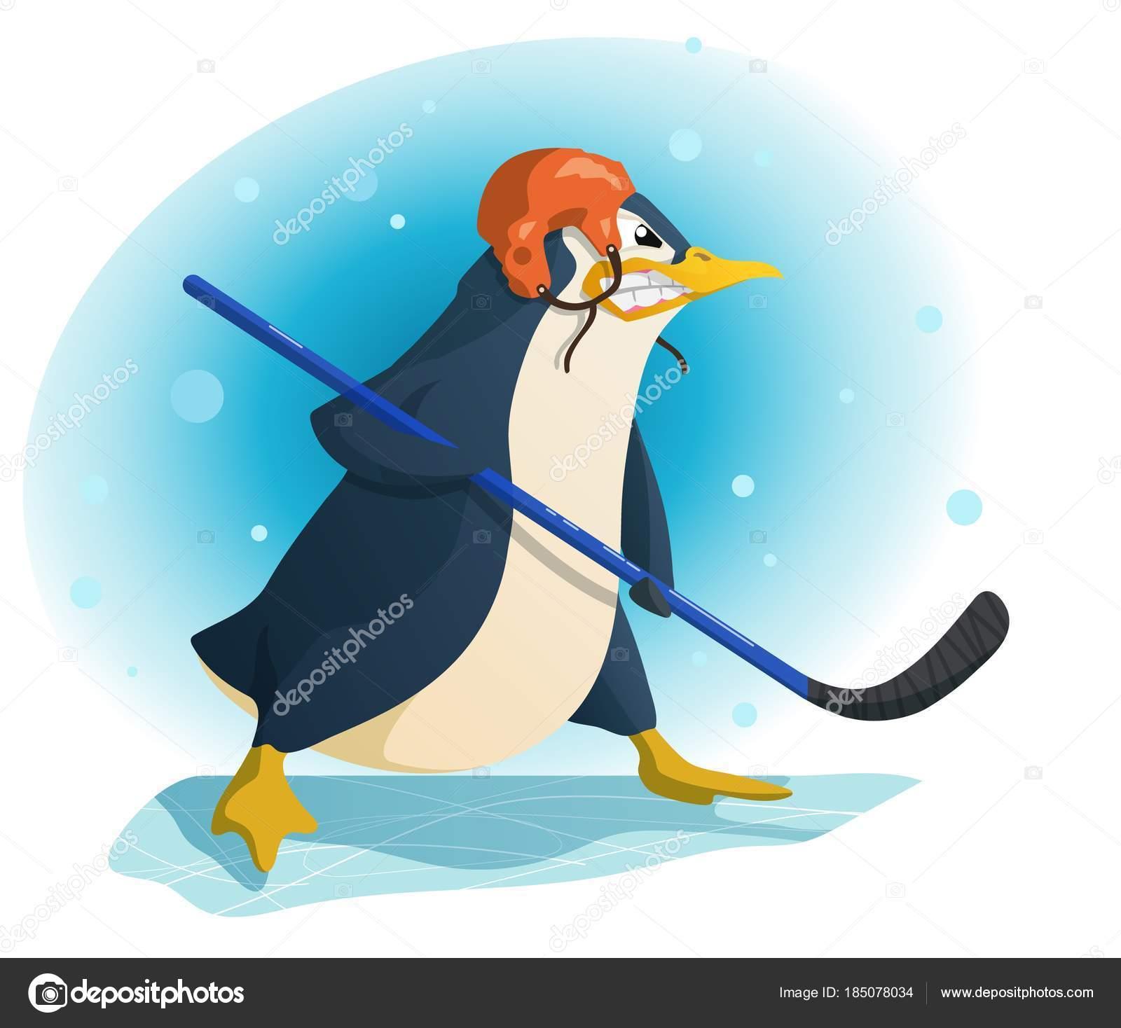 Jugador de hockey pingüino agresivo, ilustración vectorial — Vector ...