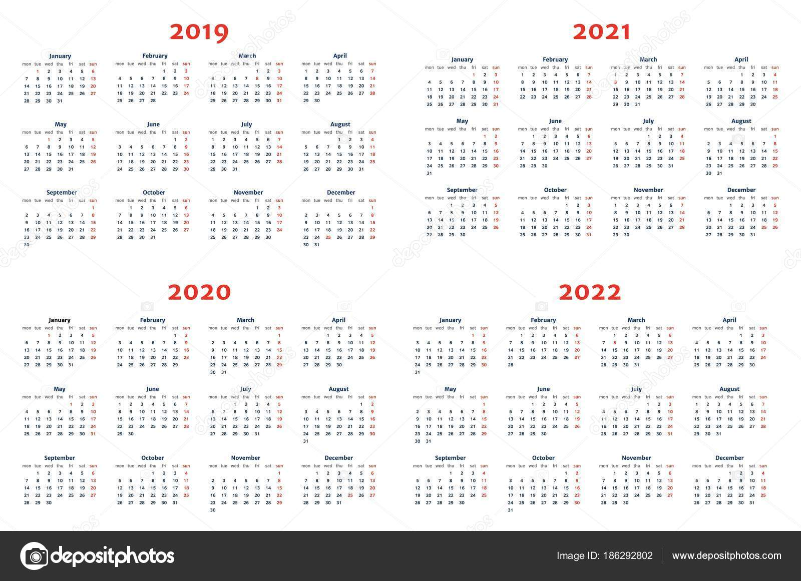calendar for 2019 2022 years on transparent background stock