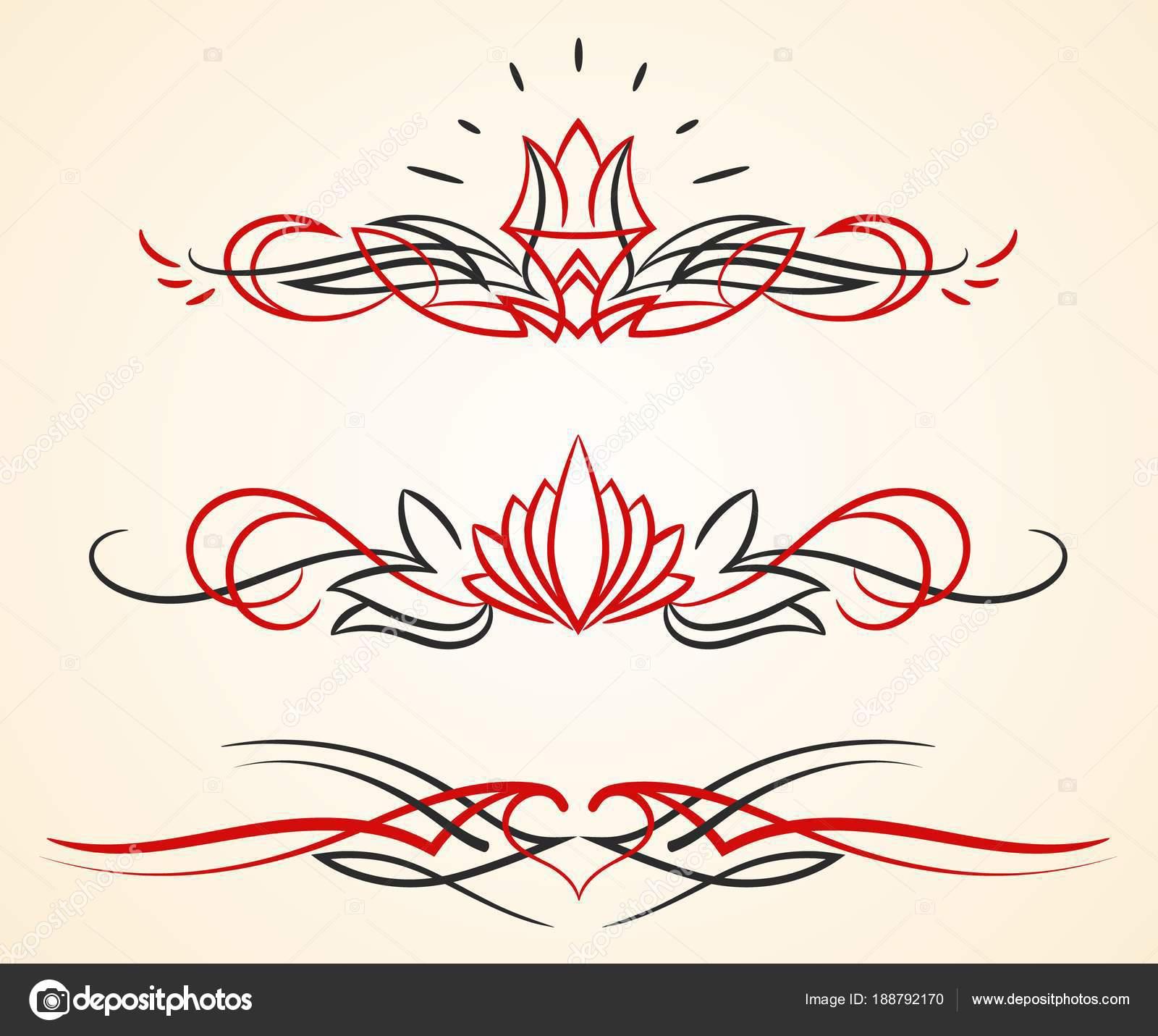 pinstriping florecer vector ornamentos conjunto — Archivo Imágenes ...