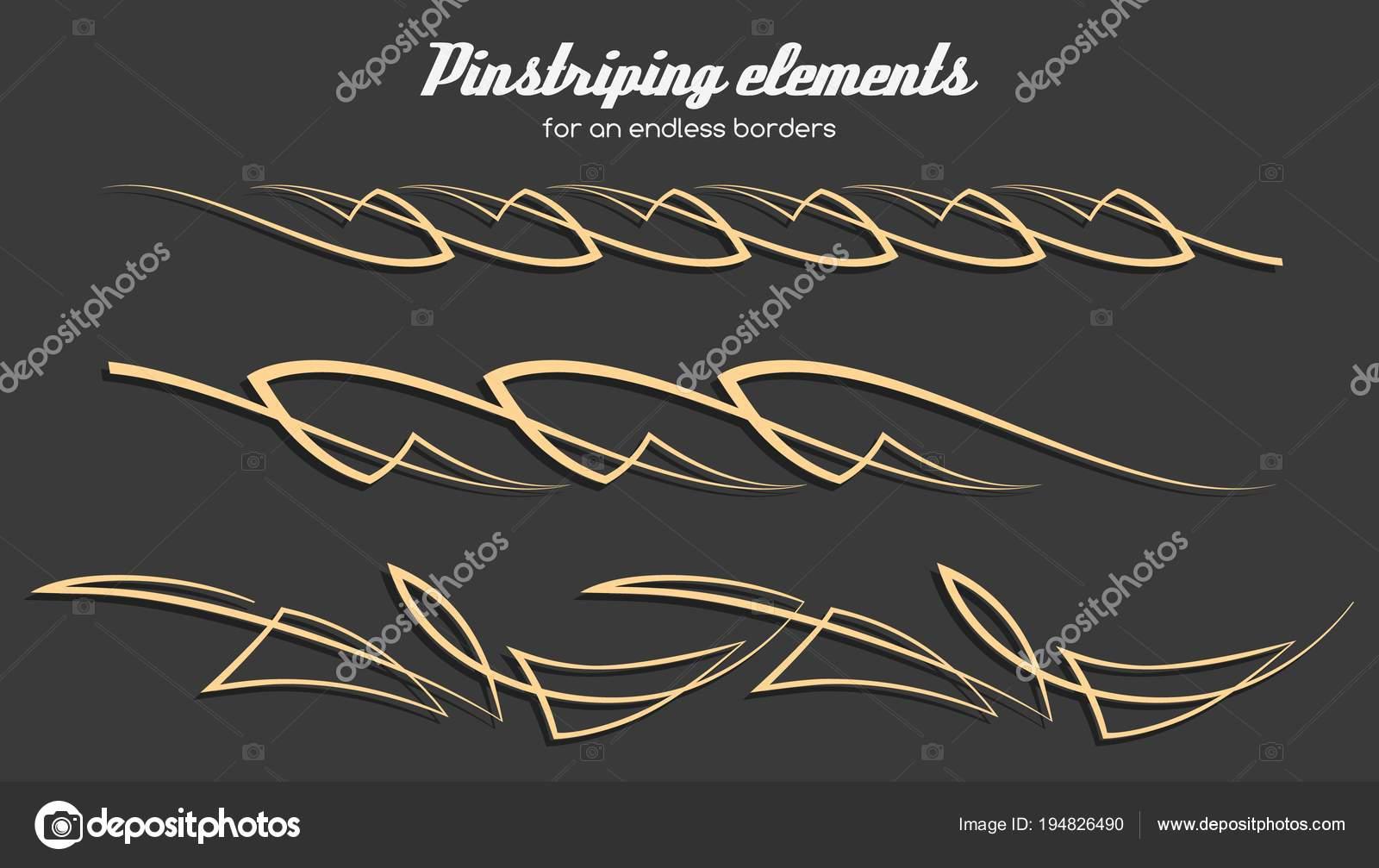 Elementos de ornamento de pinstriping, conjunto de vectores — Vector ...