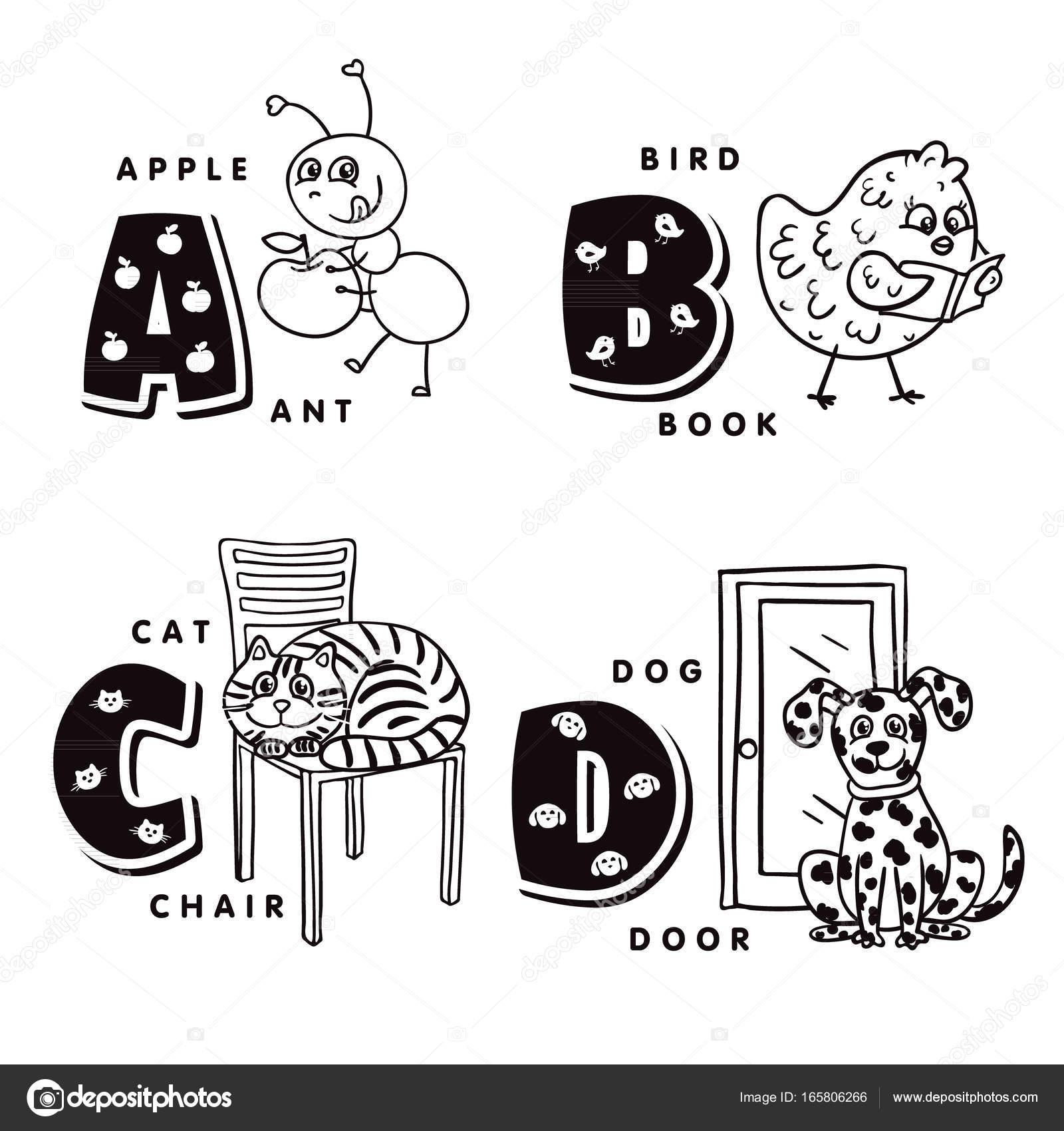 Letra del alfabeto A, B C D que representa a una hormiga, pájaro ...