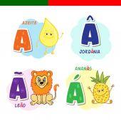Fényképek Portugál ábécé. Olívaolaj, oroszlán, ananász. A betűket és karaktereket