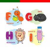 Fényképek Portugál ábécé. Hangya, macska, süni, joghurt. A betűket és karaktereket