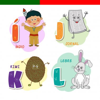 Portuguese alphabet. Newspaper, kiwi, rabbit, Indian. The letters and characters.