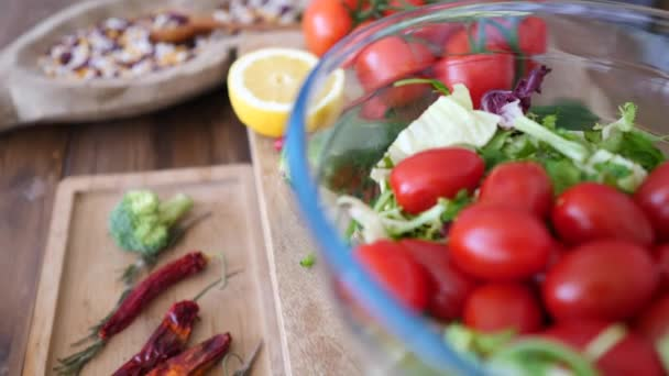 Fresh Salad With Organic Vegetables On Wooden Table.