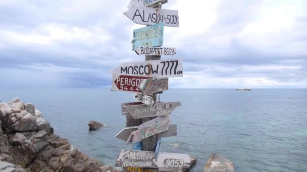 Direction Signpost With Distance to Many Countries By The Sea