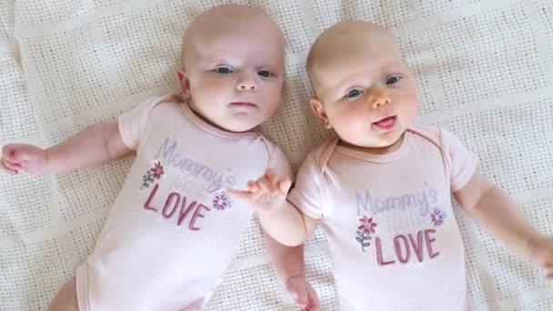 Twins Sisters Babies Weared In Mommys Little Love Bodysuits.