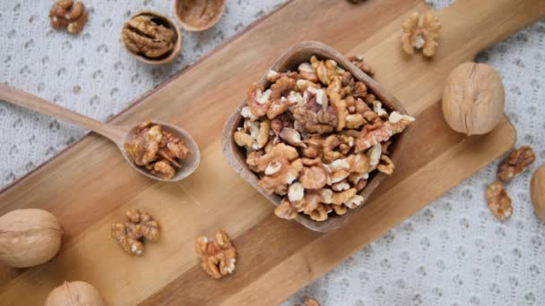 Trendy Top View Flat Lay With Healthy Food, Walnuts In Wooden Bowl.