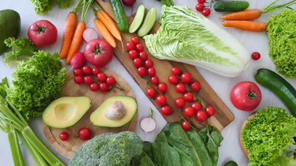 Healthy Eating, Nutrition, Vegan Lifestyle. Organic Vegetables On Table.
