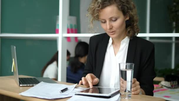 Successful Business Woman Finishes Work In Office