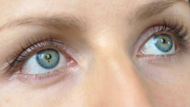 Krásná modrá žena oči s dlouhými řasami