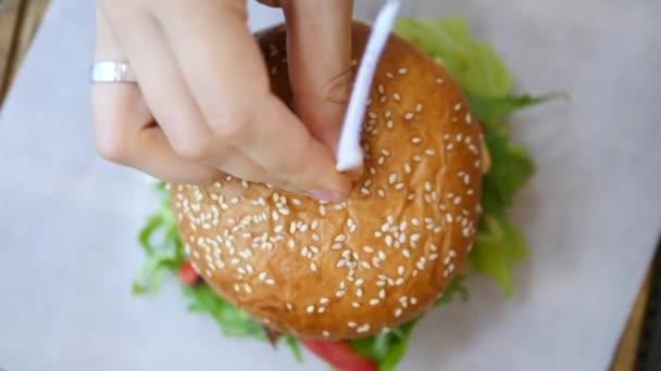 Closeup Top View Of Vegan Burger
