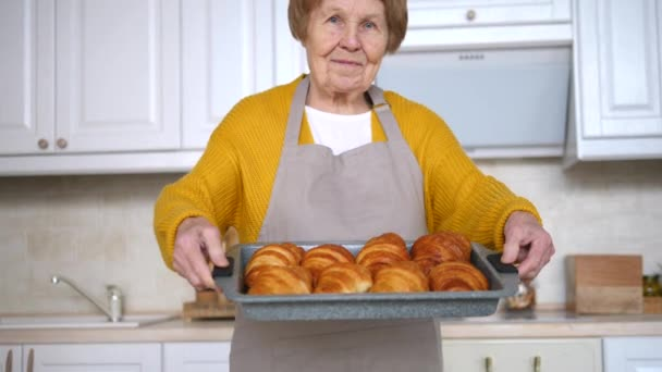 Senior Woman Cooking Pastry On Kitchen. Grandmother Making Tasty Baking.