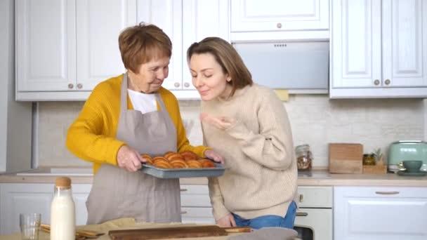 Generation, Elderly Care. Grandmother and Granddaughter Cooking Together.