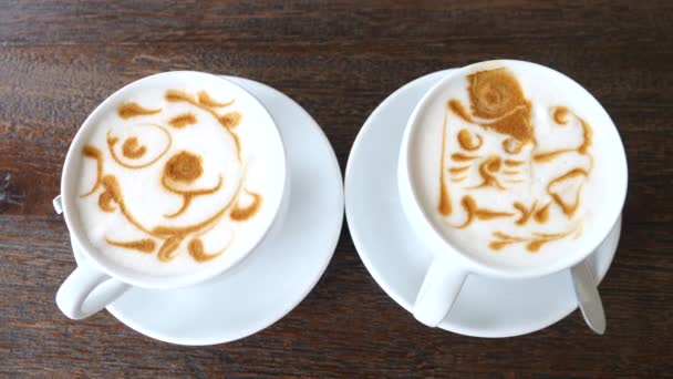 Two Cups Of Coffee With Beautiful Latte Art.