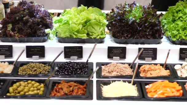 Organic Salad Bar With Fresh Vegetables And Greens In Supermarket
