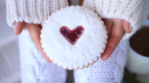 Valentines Day Heart Sugar Cookie In Hands