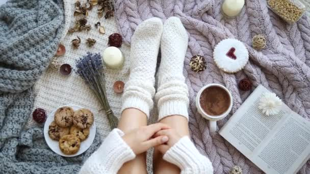 Trendy Flat Lay Blogging Concept. Female Feet In Knitted Socks.