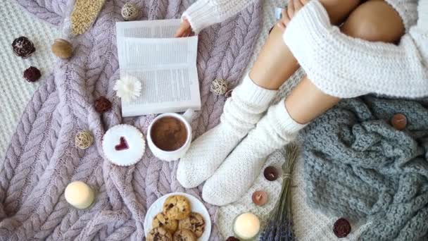 Cosy Winter Atmosphere With Knit Socks And Hot Chocolate